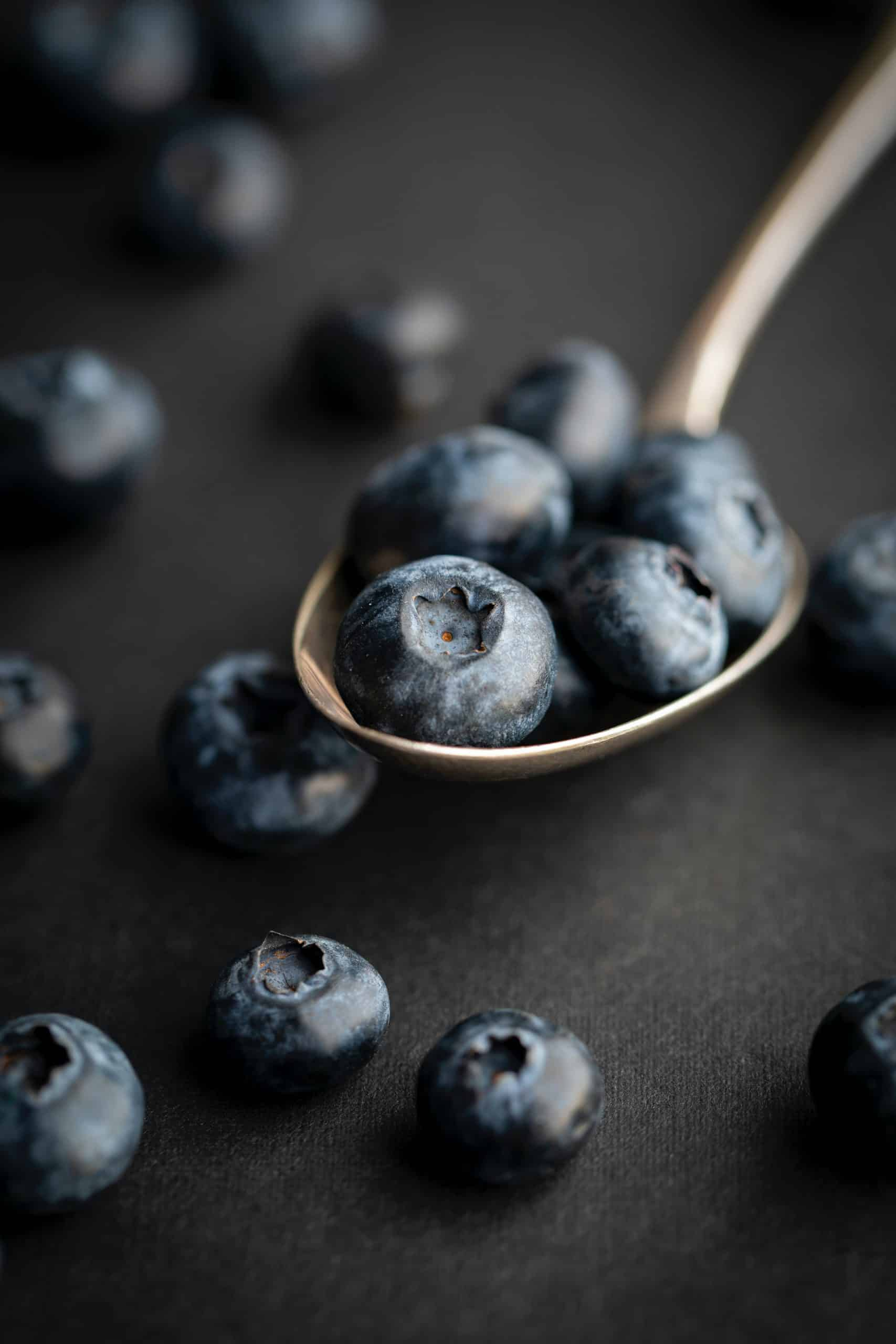 blueberries over a big spoon